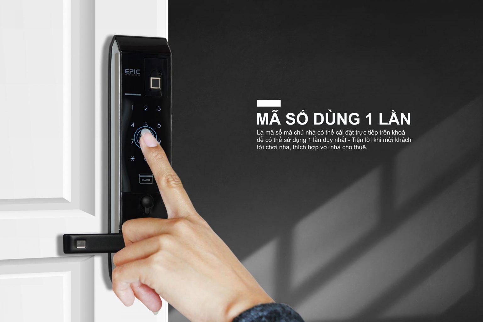 khóa vân tay điện tử Epic 8000L mã số dùng 1 lần