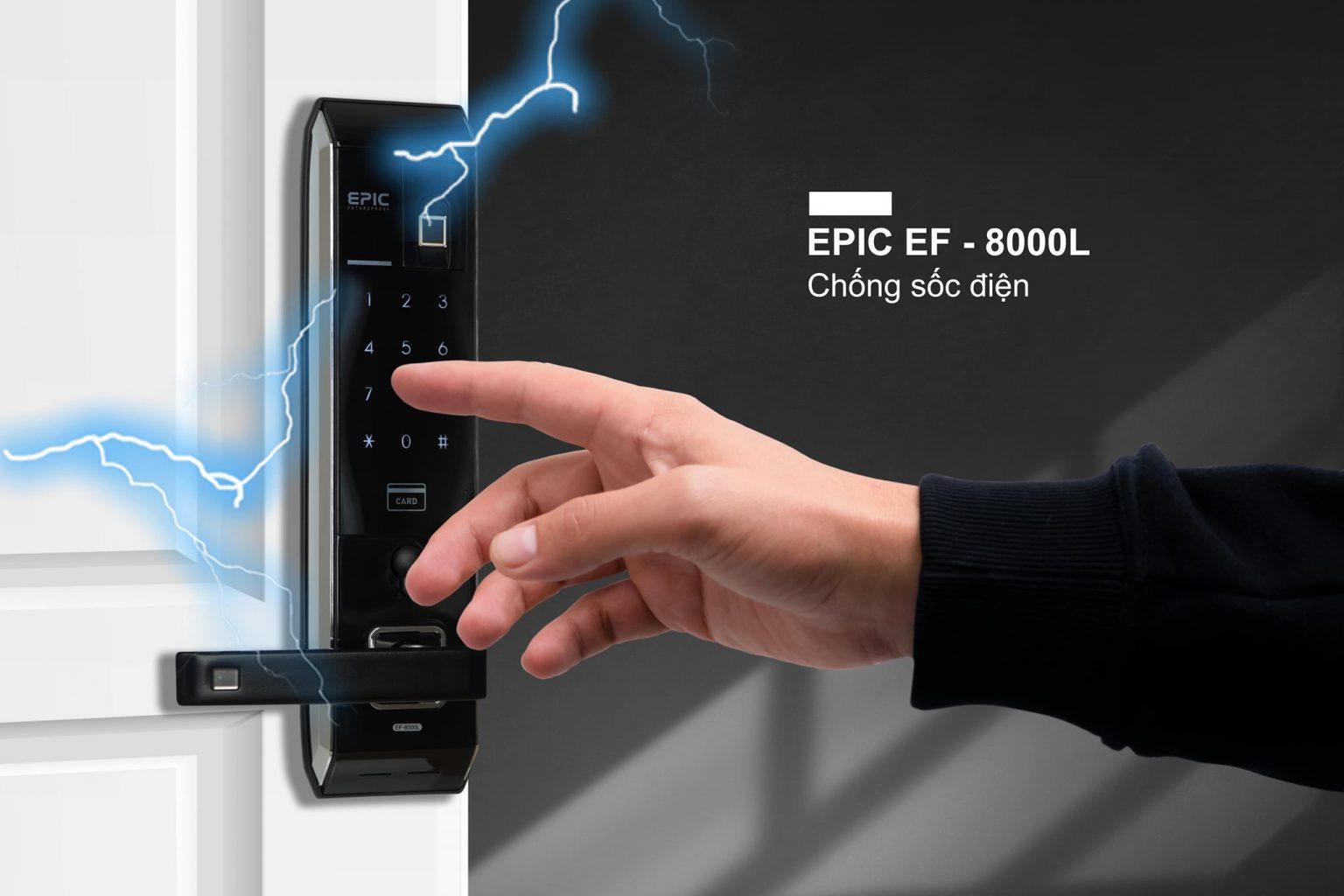 khóa vân tay điện tử Epic 8000L chống sốc điện