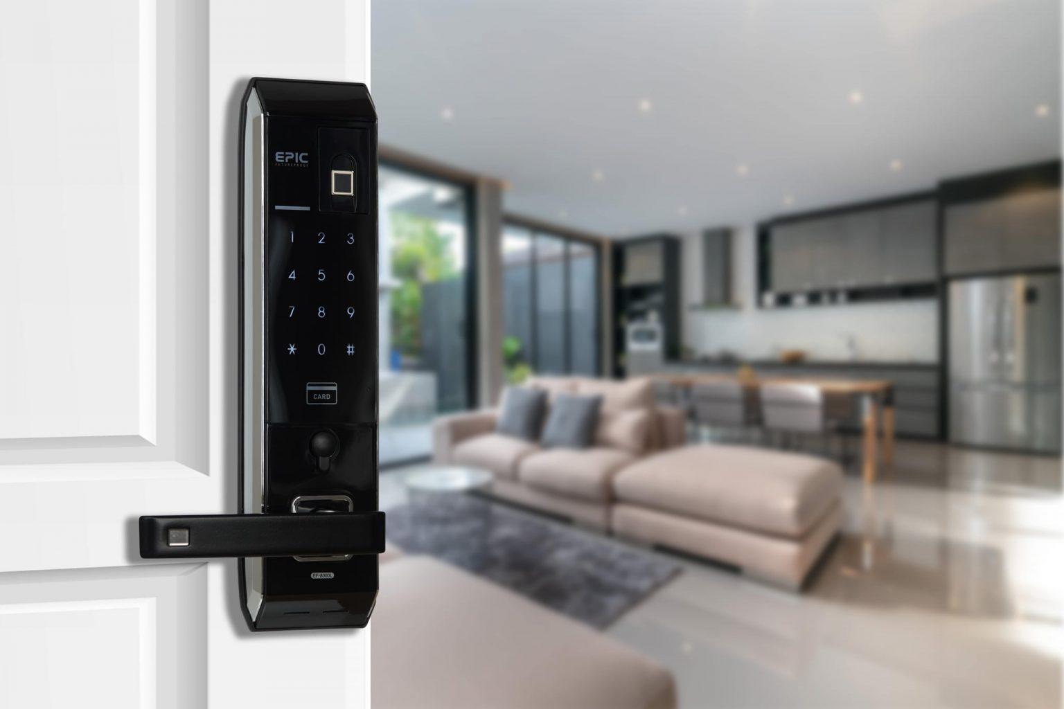 khóa vân tay điện tử Epic 8000L lắp trên cửa