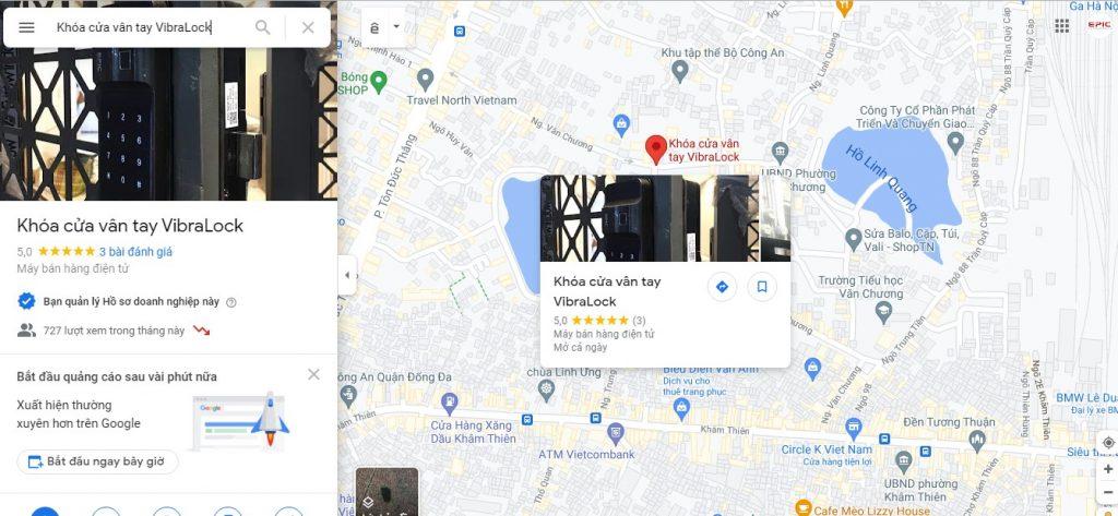Google map - khóa cửa vân tay vibralock