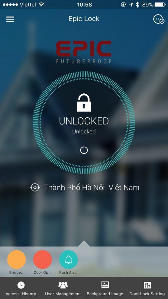 cai dạt ứng dụng điều khiển khóa vân tay thông minh